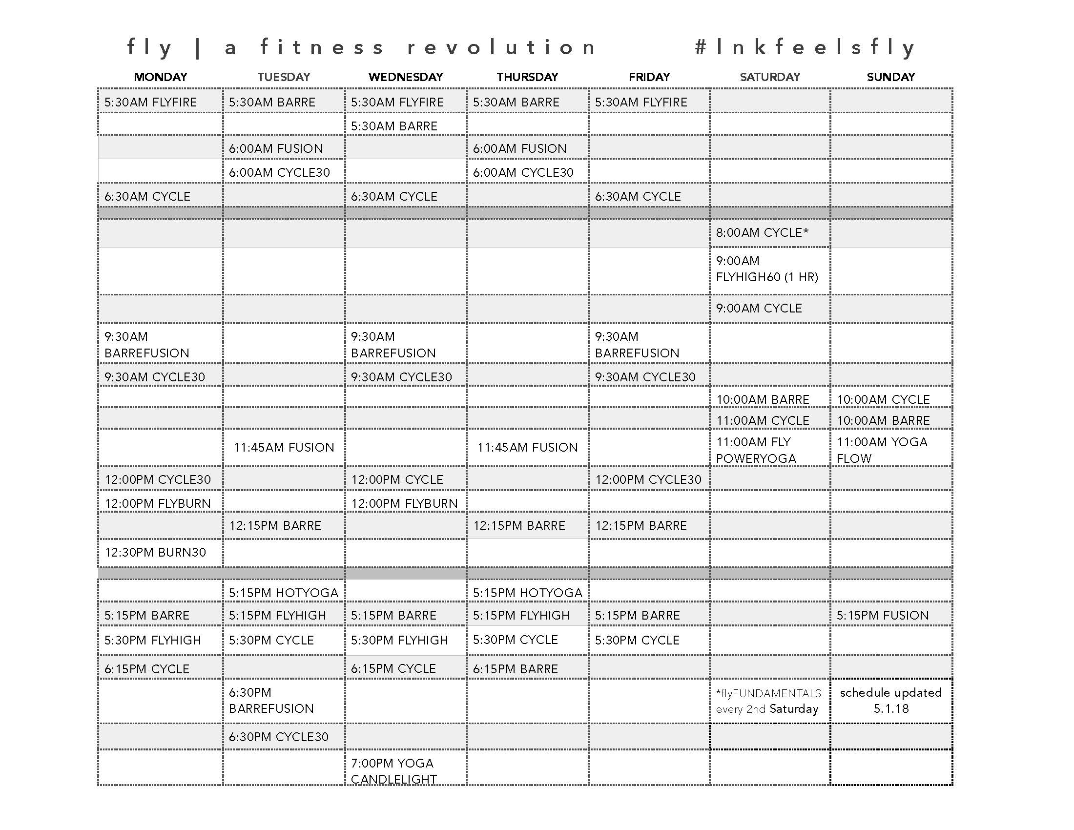 lincoln workout class schedule