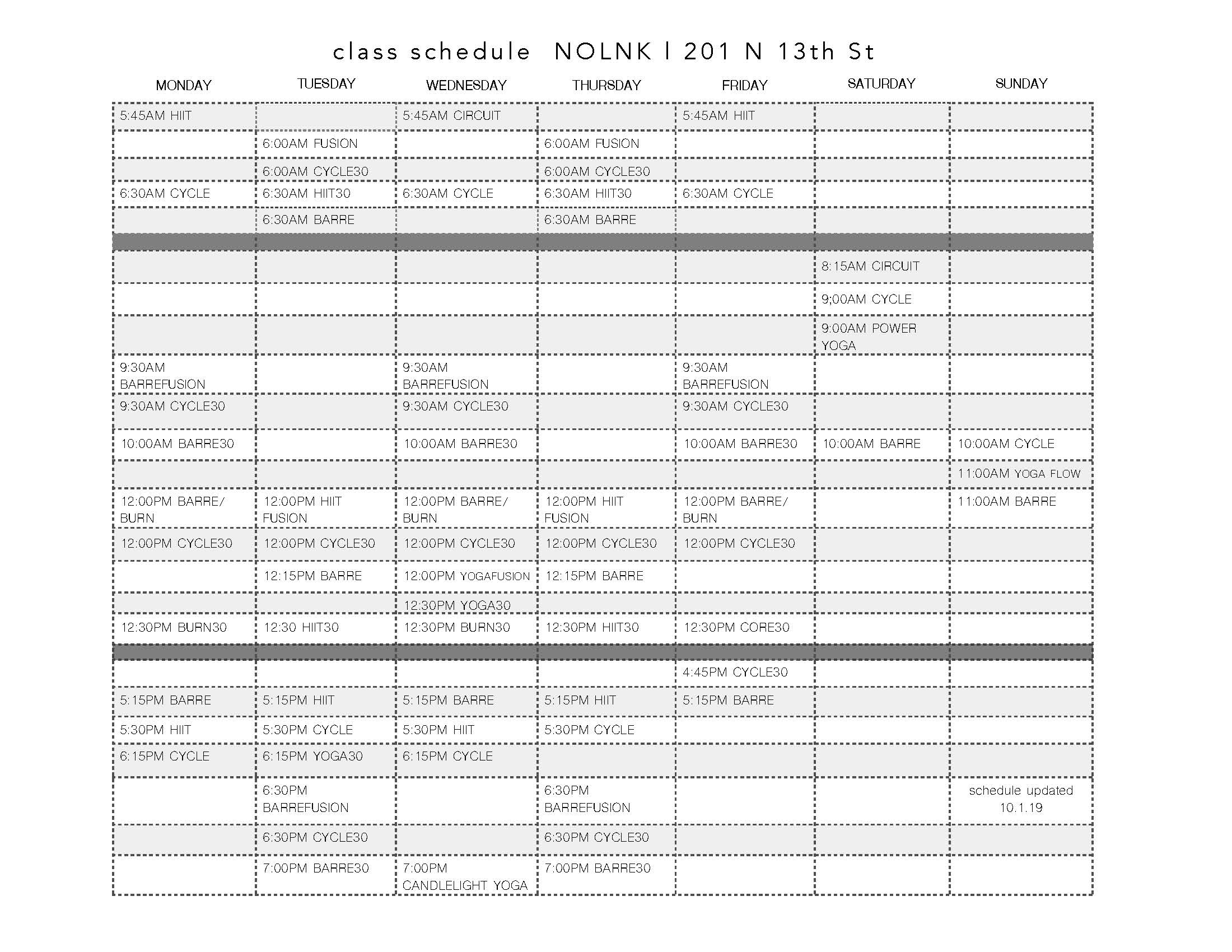 Fly class schedule Lincoln