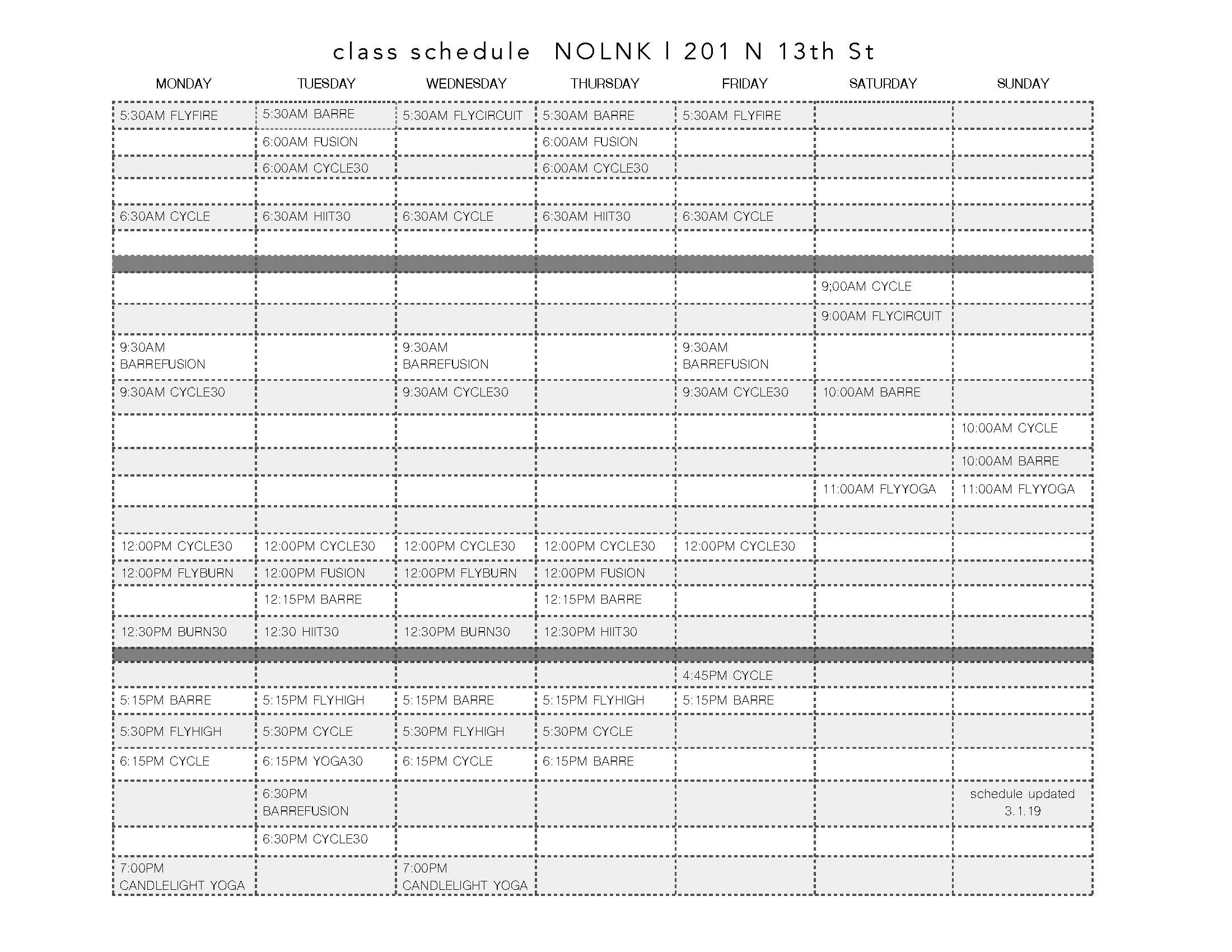 fly fitness class schedule
