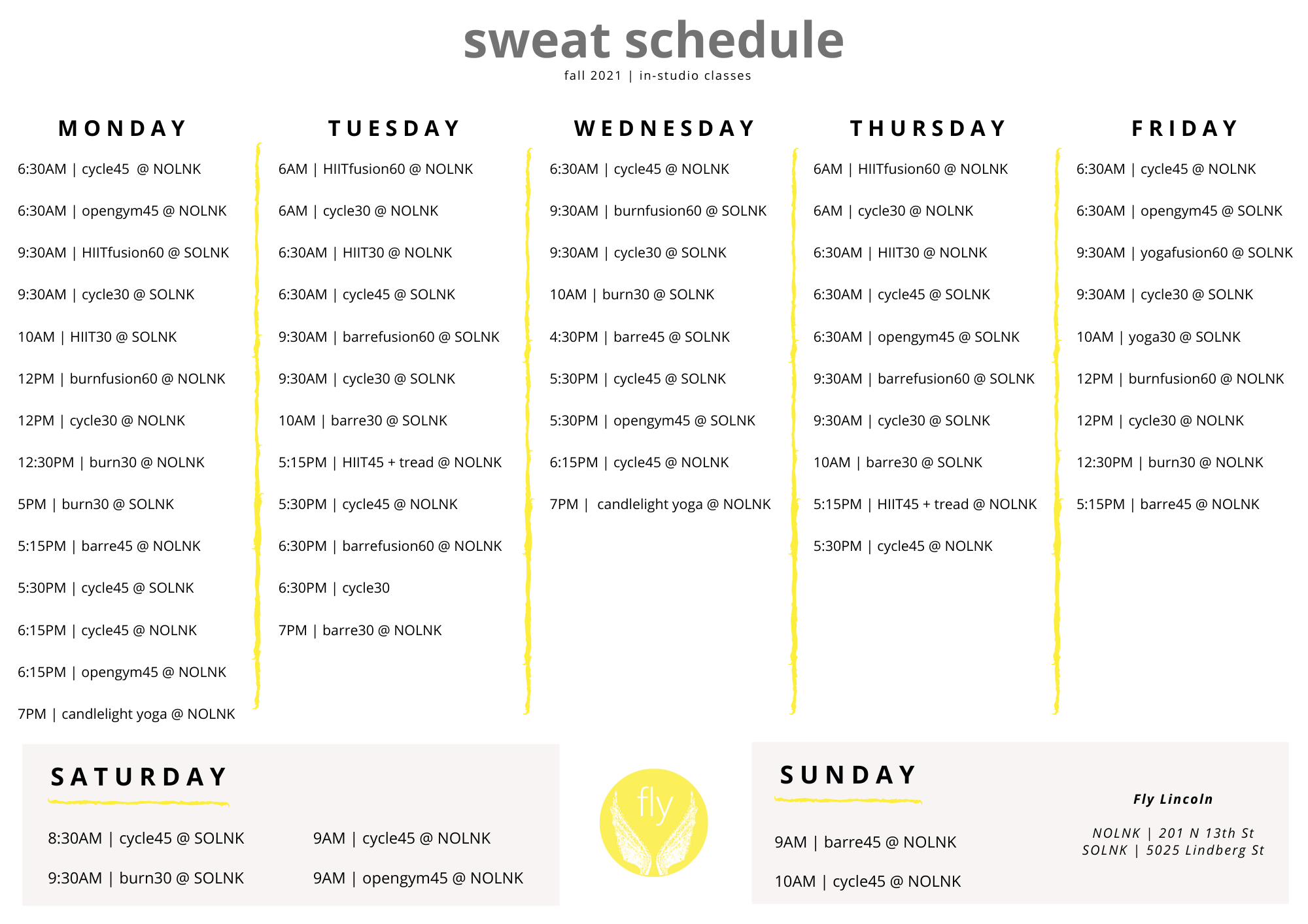 Fly Fitness Lincoln Class Schedule