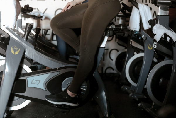 cycle bike setup for indoor cyclist sitting on Stages bike